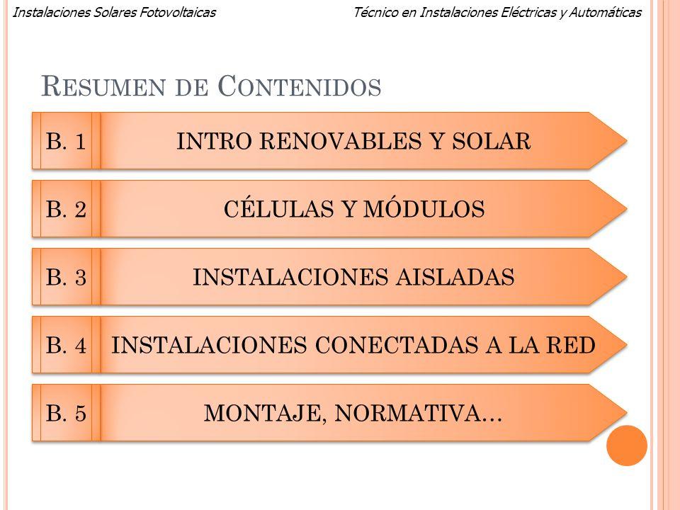 Técnico en Instalaciones Eléctricas y AutomáticasInstalaciones Solares Fotovoltaicas R ESUMEN DE C ONTENIDOS INTRO RENOVABLES Y SOLAR CÉLULAS Y MÓDULO