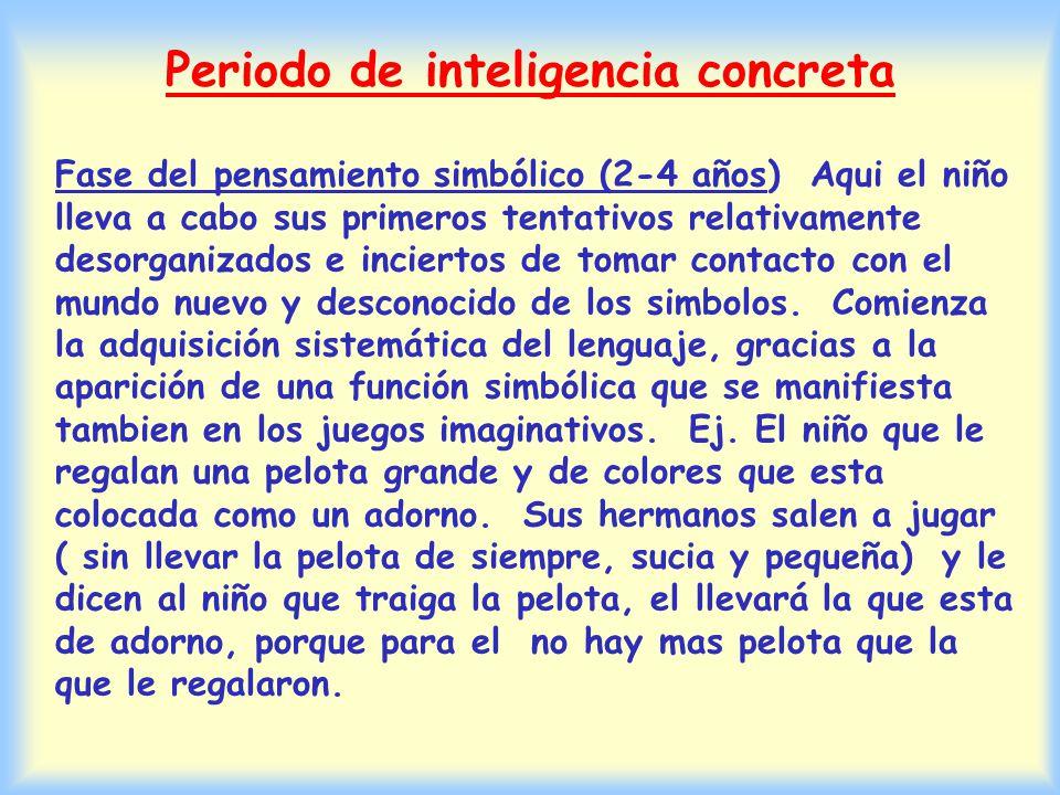 Segun Piaget el infante pasa por los siguientes periodos de desarrollo de la inteligencia 1.Periodo de la inteligencia sensomotora El infante se interesa en ejecutar sus organos sensoriales, sus movimientos y su lenguaje que le van permitiendo el ir afrontando determinados problemas.