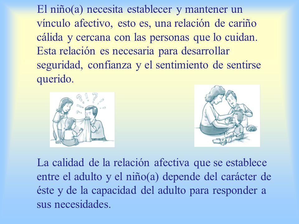 El contacto físico y emocional de los padres con el niño(a) recién nacido favorece una buena relación afectiva posterior.