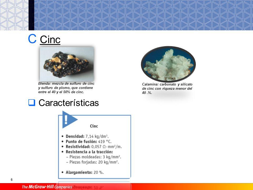 6 C Cinc Características Blenda: mezcla de sulfuro de cinc y sulfuro de plomo, que contiene entre el 40 y el 50% de cinc. Calamina: carbonato y silica
