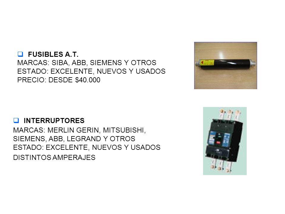 CABLES CABLES DE CONTROL, DE FUERZA MARCAS: COVISA, MADECO, COCESA Y OTROS ESTADO: EXCELENTE, NUEVOS Y USADOS ENCHUFES INDUSTRIALES MARCAS: MERLIN GERIN MACHO Y HEMBRA, VOLANTES Y SOBREPUESTOS ESTADO: EXCELENTE, NUEVOS
