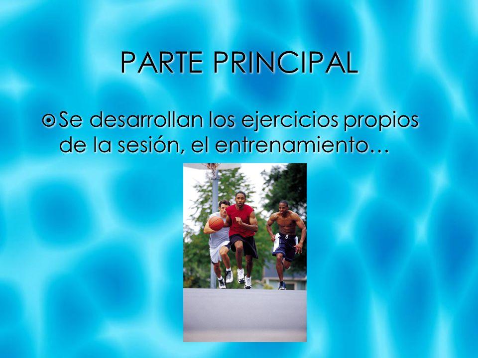 PARTE PRINCIPAL Se desarrollan los ejercicios propios de la sesión, el entrenamiento…