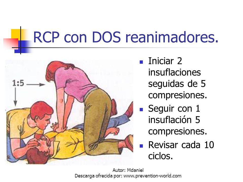 Autor: Mdaniel Descarga ofrecida por: www.prevention-world.com RCP con DOS reanimadores. Iniciar 2 insuflaciones seguidas de 5 compresiones. Seguir co