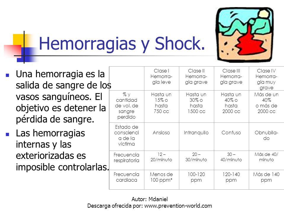 Autor: Mdaniel Descarga ofrecida por: www.prevention-world.com Hemorragias y Shock. Una hemorragia es la salida de sangre de los vasos sanguíneos. El