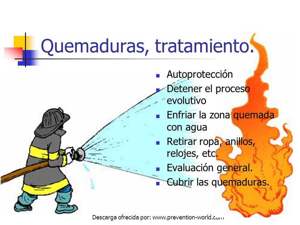 Autor: Mdaniel Descarga ofrecida por: www.prevention-world.com Autoprotección Detener el proceso evolutivo Enfriar la zona quemada con agua Retirar ro