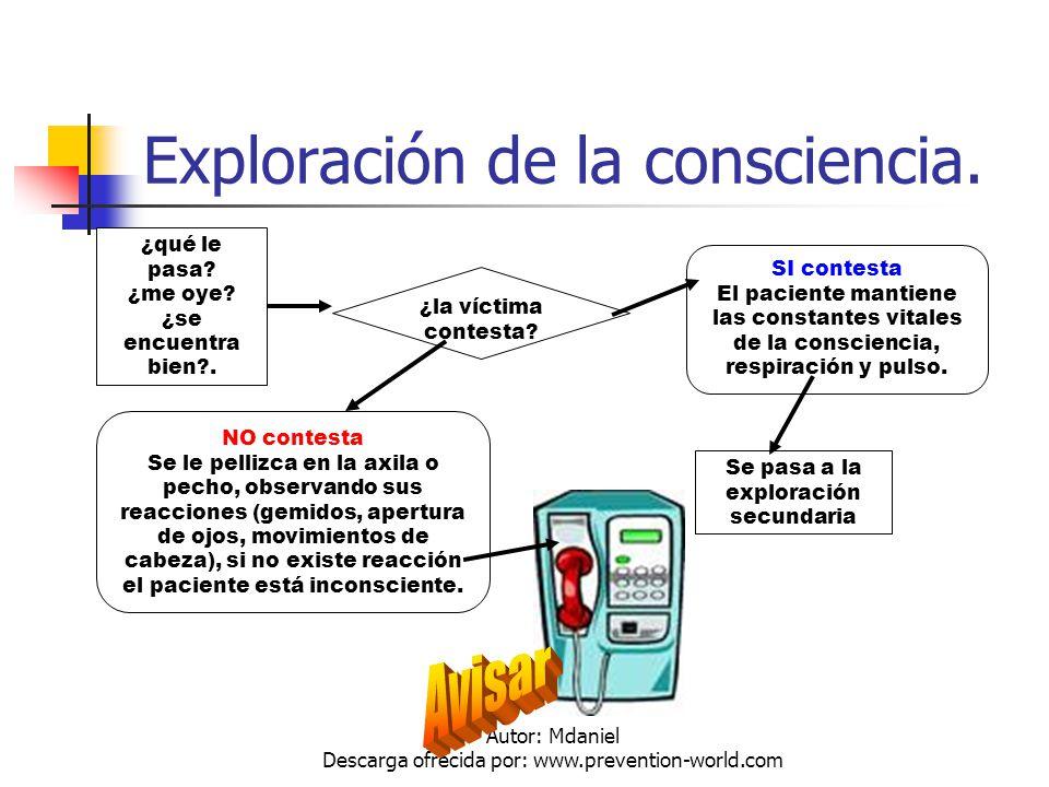 Autor: Mdaniel Descarga ofrecida por: www.prevention-world.com Exploración de la consciencia. ¿qué le pasa? ¿me oye? ¿se encuentra bien?. ¿la víctima
