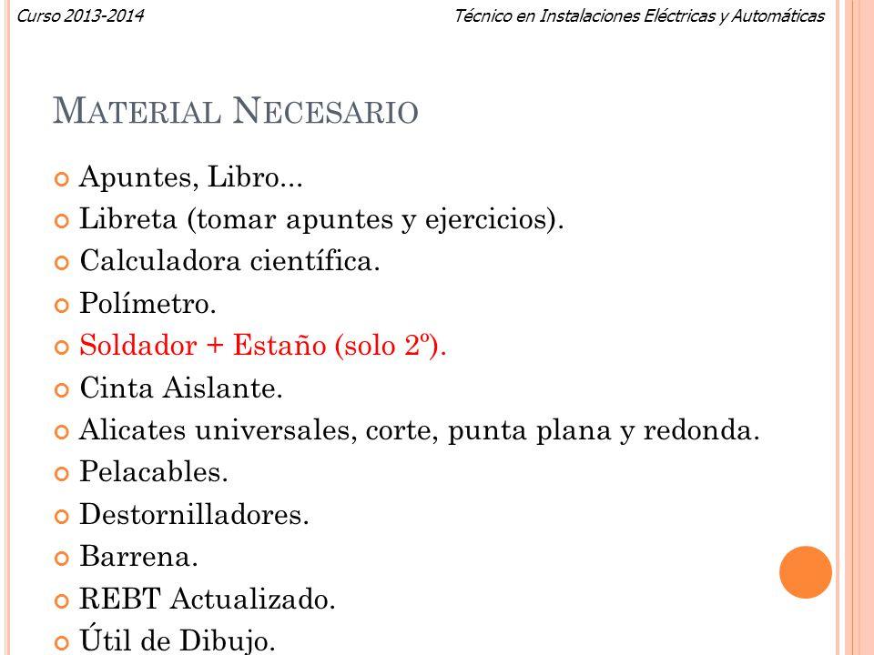 Técnico en Instalaciones Eléctricas y AutomáticasCurso 2013-2014 M ATERIAL N ECESARIO Apuntes, Libro... Libreta (tomar apuntes y ejercicios). Calculad