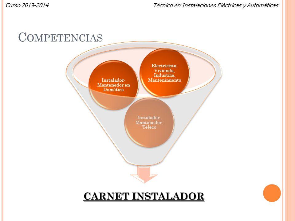 Técnico en Instalaciones Eléctricas y AutomáticasCurso 2013-2014 C OMPETENCIAS CARNET INSTALADOR Instalador- Mantenedor: Teleco Instalador- Mantenedor