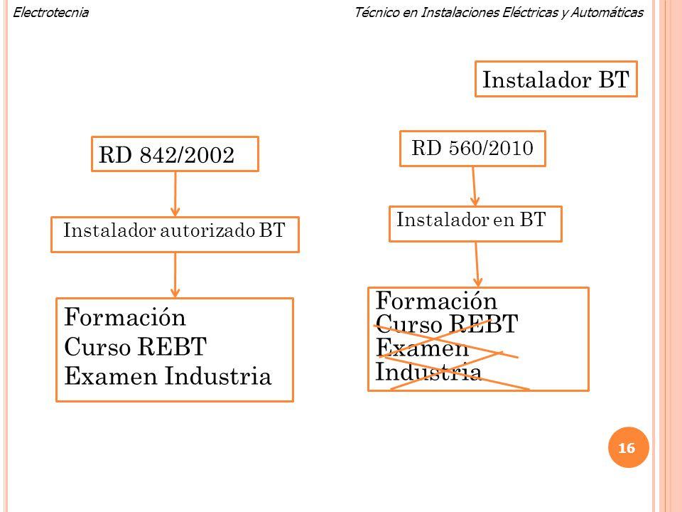 Técnico en Instalaciones Eléctricas y AutomáticasElectrotecnia RD 842/2002 Instalador autorizado BT RD 560/2010 Instalador en BT Formación Curso REBT