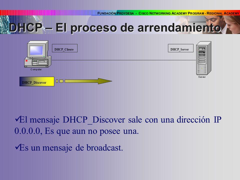 DHCP_Cliente DHCP_Server DHCP_Discover El mensaje DHCP_Discover sale con una dirección IP 0.0.0.0, Es que aun no posee una.