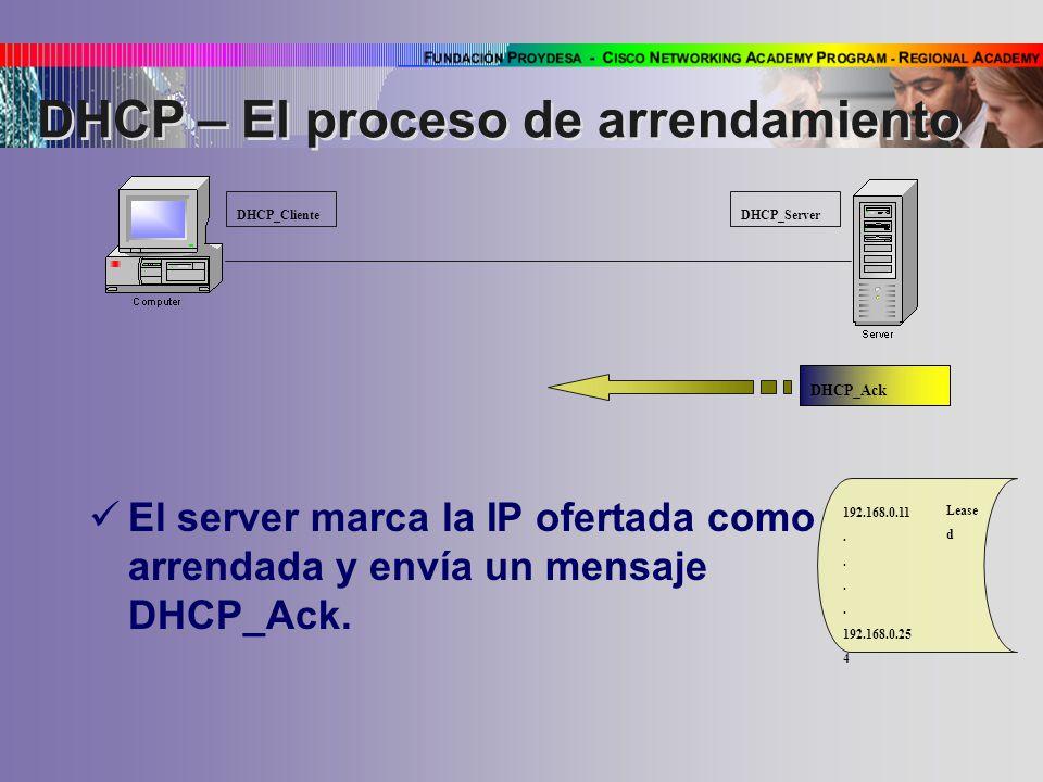 El server marca la IP ofertada como arrendada y envía un mensaje DHCP_Ack.