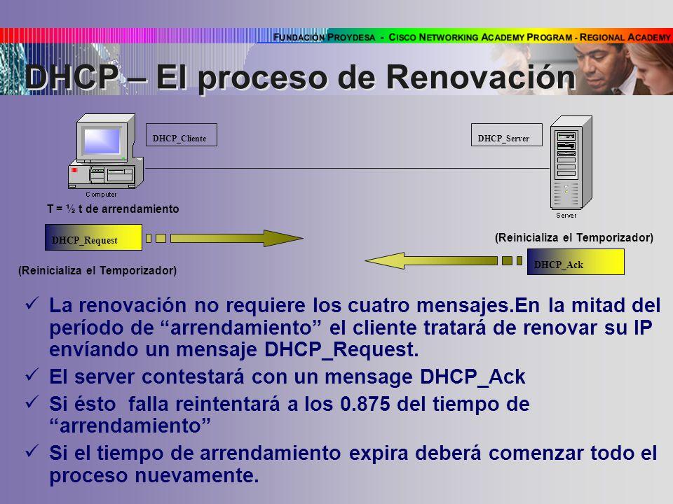 La renovación no requiere los cuatro mensajes.En la mitad del período de arrendamiento el cliente tratará de renovar su IP envíando un mensaje DHCP_Request.