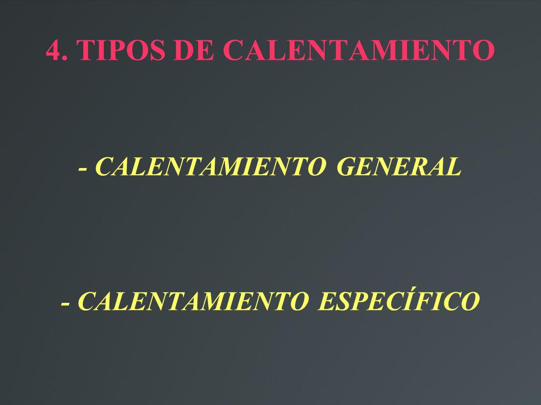 4. TIPOS DE CALENTAMIENTO - CALENTAMIENTO GENERAL - CALENTAMIENTO ESPECÍFICO