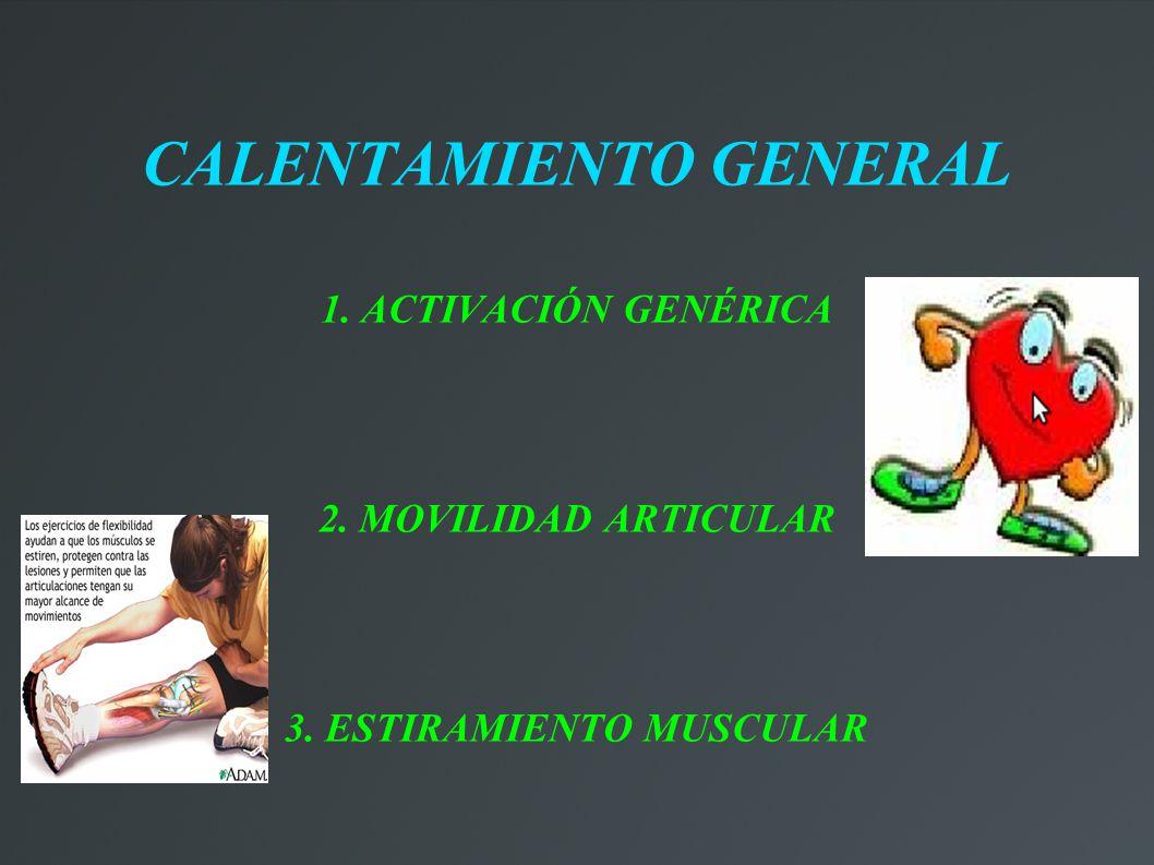 CALENTAMIENTO GENERAL 1. ACTIVACIÓN GENÉRICA 2. MOVILIDAD ARTICULAR 3. ESTIRAMIENTO MUSCULAR
