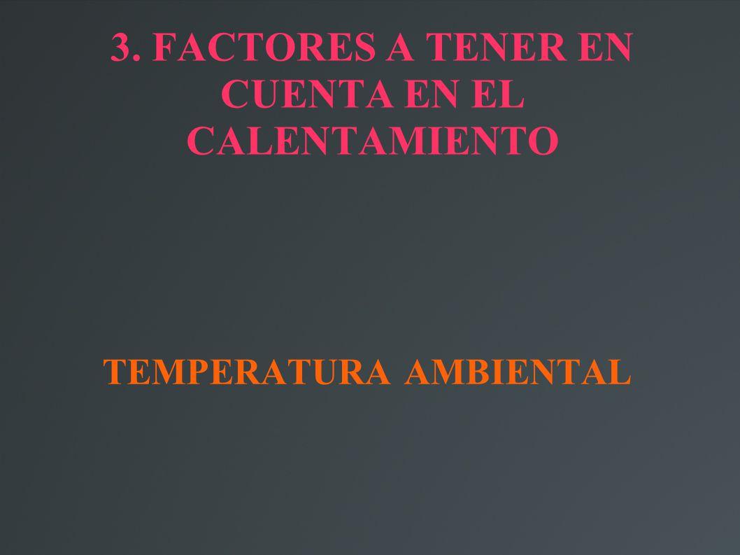 3. FACTORES A TENER EN CUENTA EN EL CALENTAMIENTO TEMPERATURA AMBIENTAL