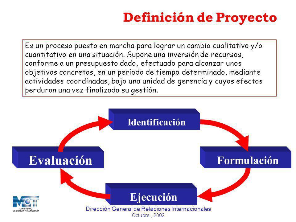 Dirección General de Relaciones Internacionales Octubre, 2002 Definición de Proyecto Es un proceso puesto en marcha para lograr un cambio cualitativo