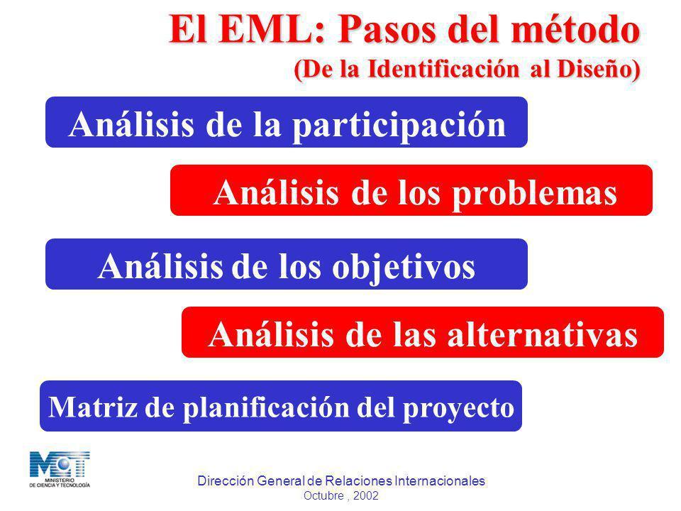 Dirección General de Relaciones Internacionales Octubre, 2002 Análisis de la participación Análisis de los problemas Análisis de los objetivos Análisi