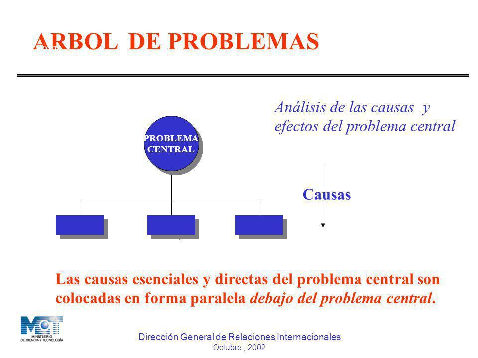 Dirección General de Relaciones Internacionales Octubre, 2002 COOPERACIÓN TÉCNICA INTERNACIONAL ARBOL DE PROBLEMAS DGCTI MPD Causas PROBLEMA CENTRAL P