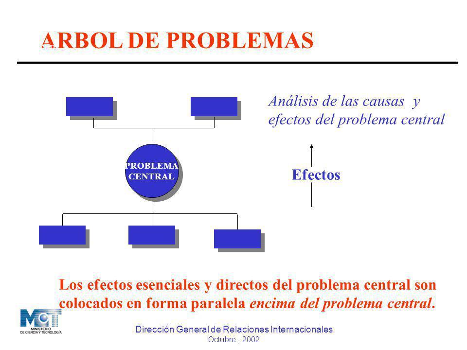 Dirección General de Relaciones Internacionales Octubre, 2002 ARBOL DE PROBLEMAS DGCTI MPD Efectos PROBLEMA CENTRAL PROBLEMA CENTRAL Análisis de las c