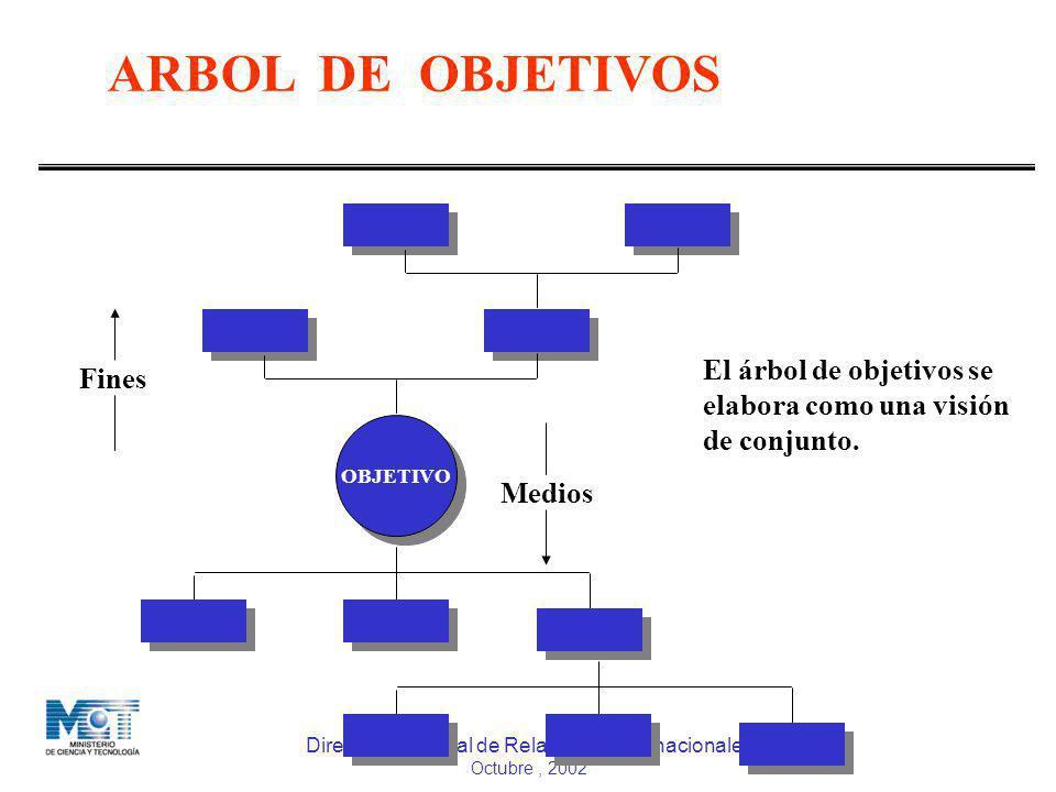 Dirección General de Relaciones Internacionales Octubre, 2002 ARBOL DE OBJETIVOS DGCTI MPD OBJETIVO Fines Medios El árbol de objetivos se elabora como