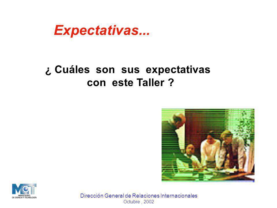 Dirección General de Relaciones Internacionales Octubre, 2002 Expectativas... ¿ Cuáles son sus expectativas con este Taller ?
