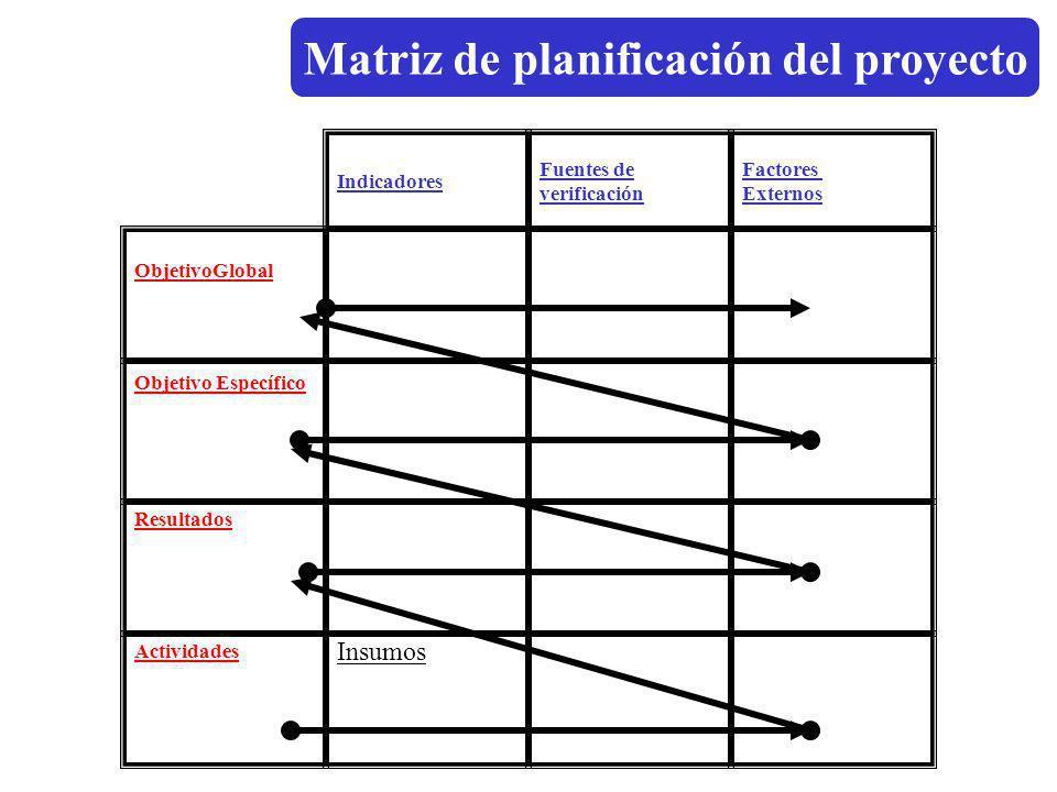 Indicadores Fuentes de verificación Factores Externos ObjetivoGlobal Objetivo Específico Resultados Insumos Actividades Matriz de planificación del pr