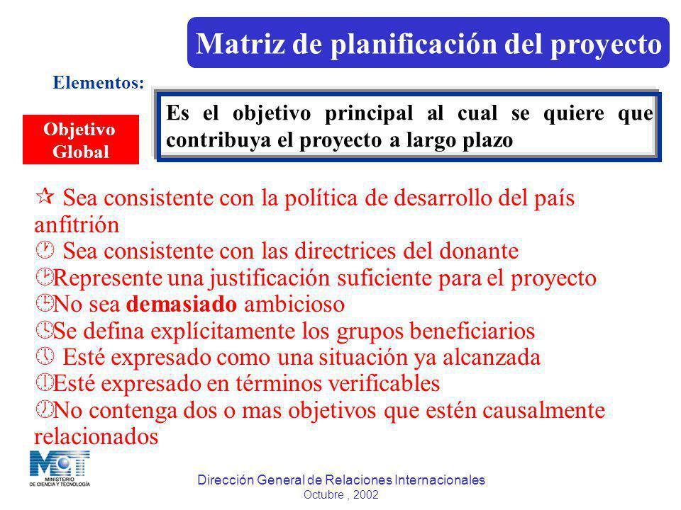 Dirección General de Relaciones Internacionales Octubre, 2002 Elementos: Objetivo Global Es el objetivo principal al cual se quiere que contribuya el