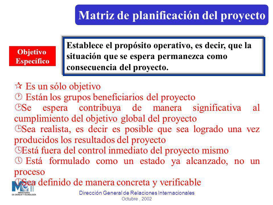 Dirección General de Relaciones Internacionales Octubre, 2002 Objetivo Específico Establece el propósito operativo, es decir, que la situación que se