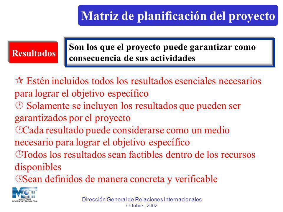 Dirección General de Relaciones Internacionales Octubre, 2002 Resultados Son los que el proyecto puede garantizar como consecuencia de sus actividades