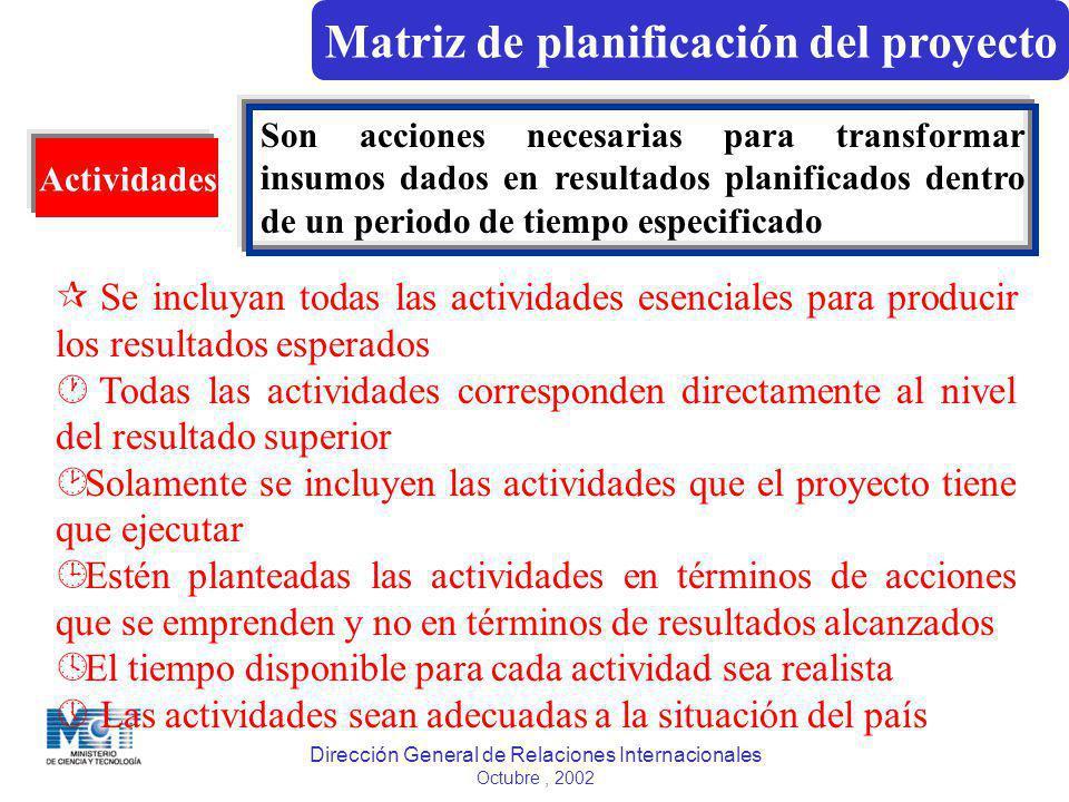 Dirección General de Relaciones Internacionales Octubre, 2002 Actividades Son acciones necesarias para transformar insumos dados en resultados planifi