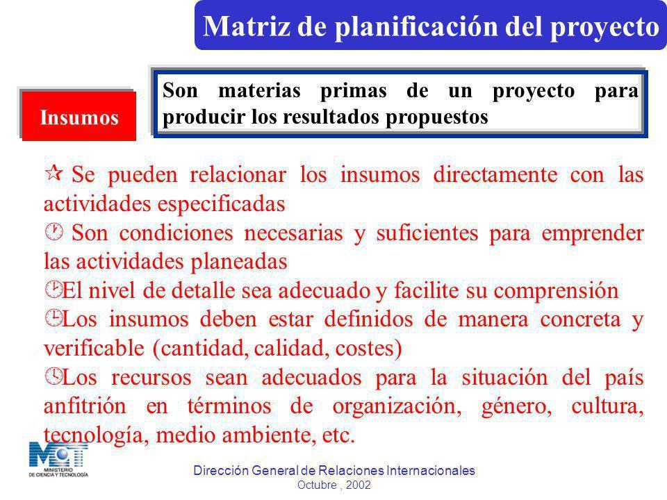 Dirección General de Relaciones Internacionales Octubre, 2002 Insumos Son materias primas de un proyecto para producir los resultados propuestos ¶ Se