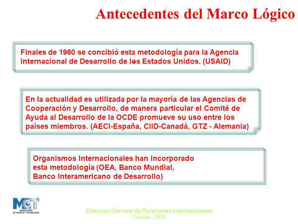 Dirección General de Relaciones Internacionales Octubre, 2002. Antecedentes del Marco Lógico Finales de 1960 se concibió esta metodología para la Agen
