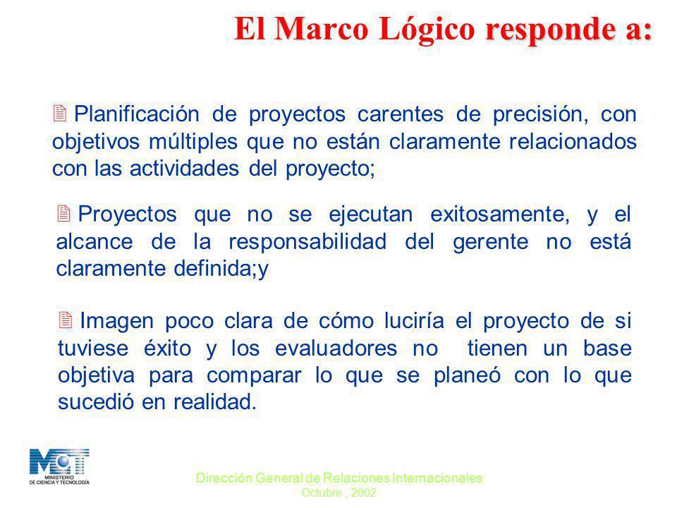 Dirección General de Relaciones Internacionales Octubre, 2002 Mresponde a: El Marco Lógico responde a: 2 Planificación de proyectos carentes de precis