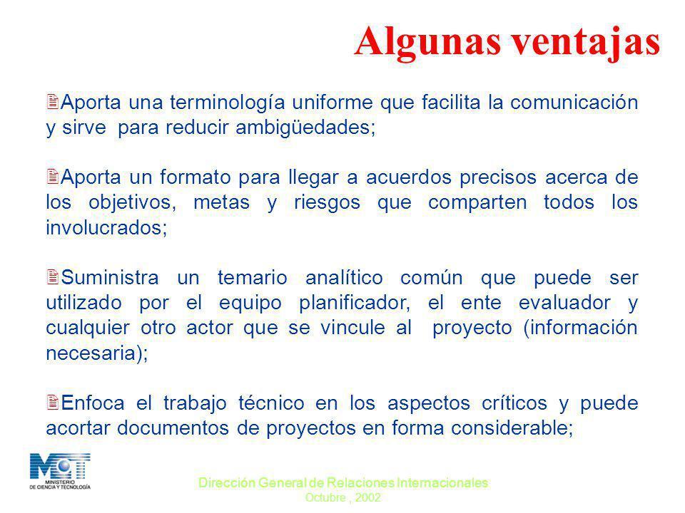 Dirección General de Relaciones Internacionales Octubre, 2002 ARBOL DE OBJETIVOS DGCTI MPD OBJETIVO Fines Medios El árbol de objetivos se elabora como una visión de conjunto.