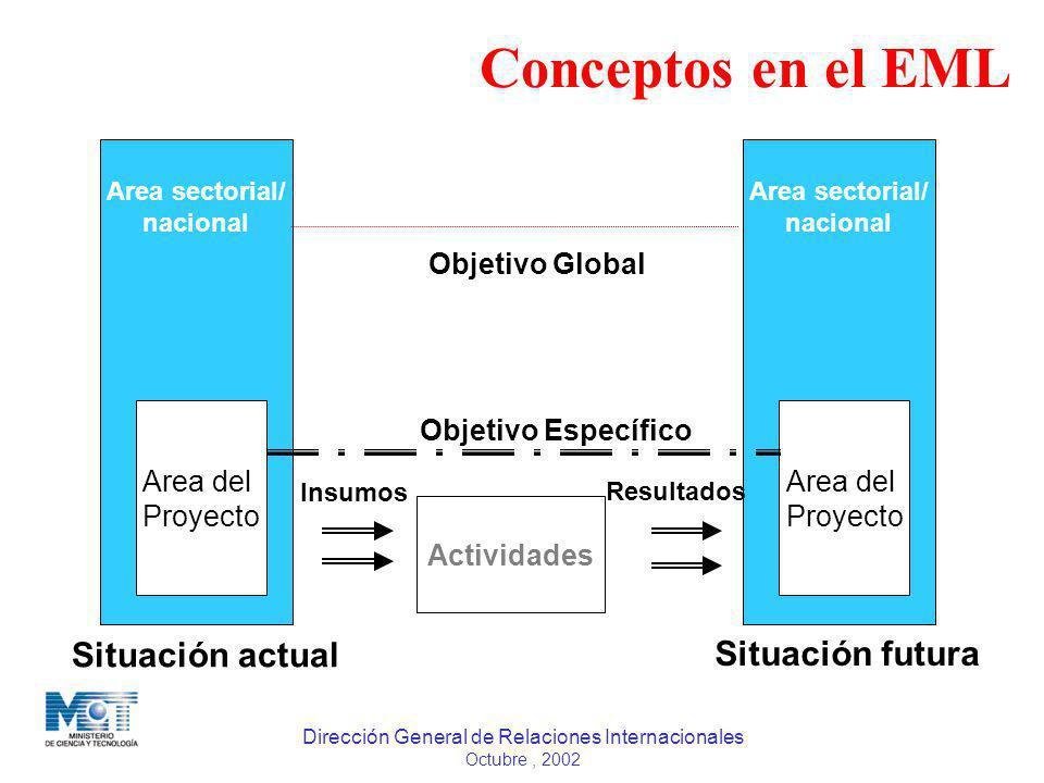 Dirección General de Relaciones Internacionales Octubre, 2002 Area del Proyecto Area sectorial/ nacional Area del Proyecto Area sectorial/ nacional Co