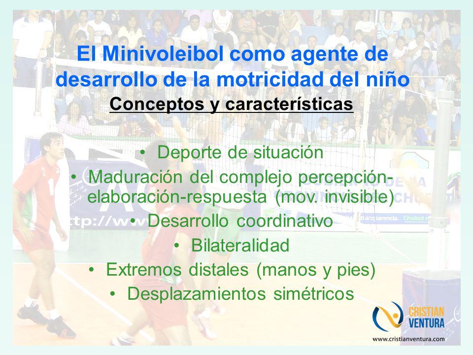 El Minivoleibol como agente de desarrollo de la motricidad del niño Conceptos y características Deporte de situación Maduración del complejo percepción- elaboración-respuesta (mov.