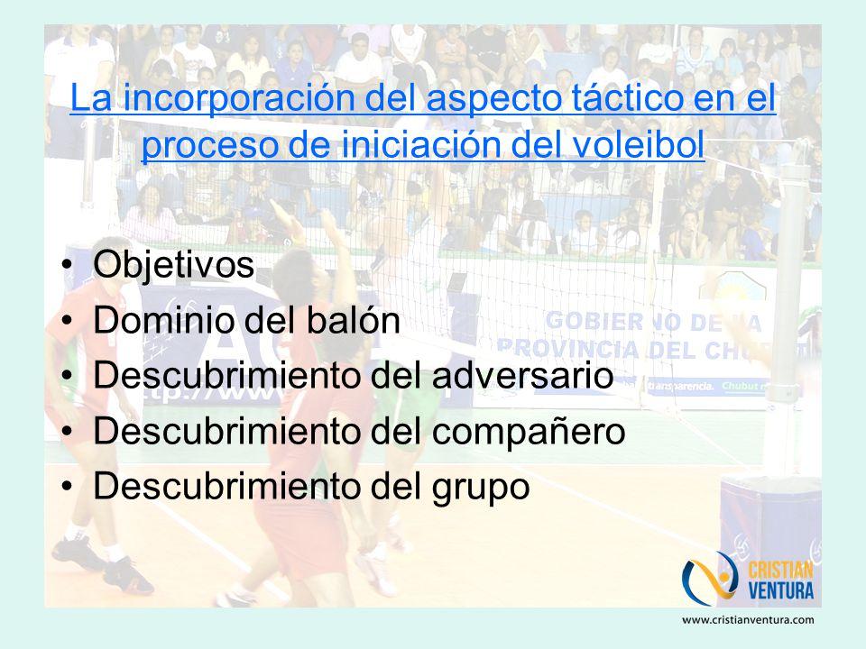 La incorporación del aspecto táctico en el proceso de iniciación del voleibol Objetivos Dominio del balón Descubrimiento del adversario Descubrimiento del compañero Descubrimiento del grupo