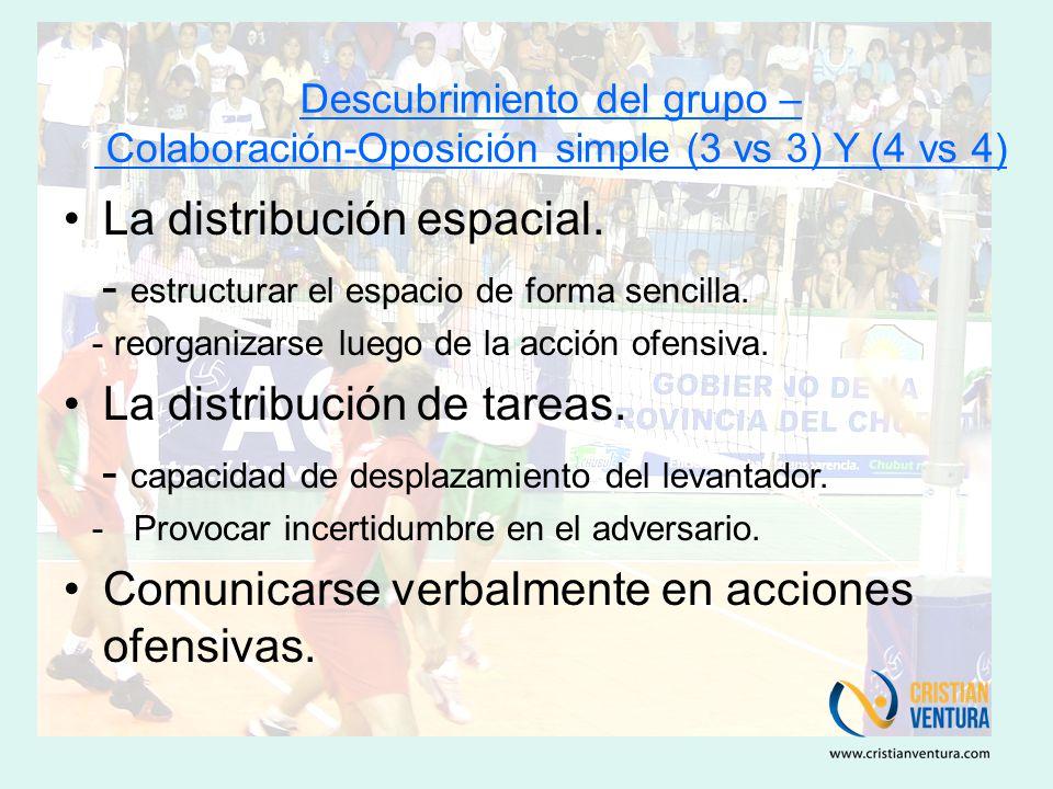 Descubrimiento del grupo – Colaboración-Oposición simple (3 vs 3) Y (4 vs 4) La distribución espacial.