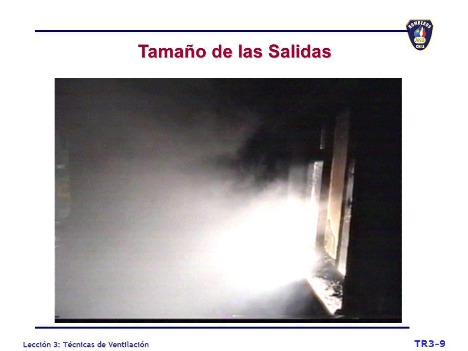 Lección 3: Técnicas de Ventilación Tamaño de las Salidas Tamaño de las Salidas TR3-9