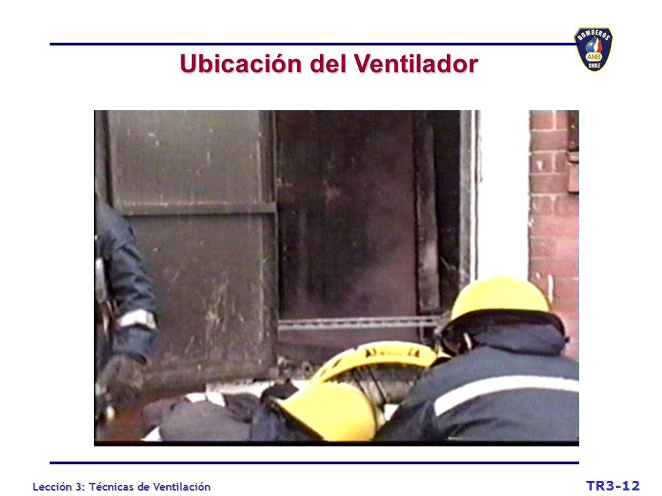 Lección 3: Técnicas de Ventilación Ubicación del Ventilador TR3-12