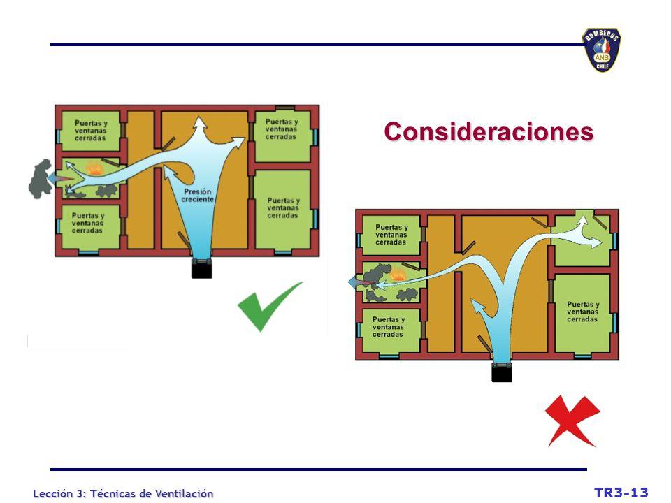 Lección 3: Técnicas de Ventilación Consideraciones TR3-13