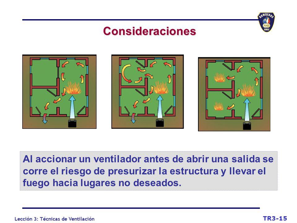 Lección 3: Técnicas de Ventilación Consideraciones TR3-15 Al accionar un ventilador antes de abrir una salida se corre el riesgo de presurizar la estructura y llevar el fuego hacia lugares no deseados.