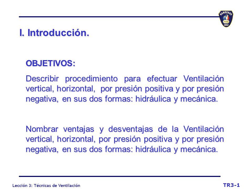 Lección 3: Técnicas de Ventilación I.Introducción.