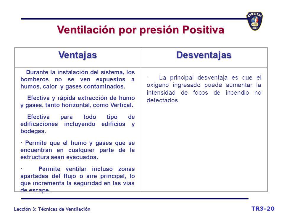Lección 3: Técnicas de Ventilación Ventilación por presión Positiva TR3-20 VentajasDesventajas Durante la instalación del sistema, los bomberos no se ven expuestos a humos, calor y gases contaminados.