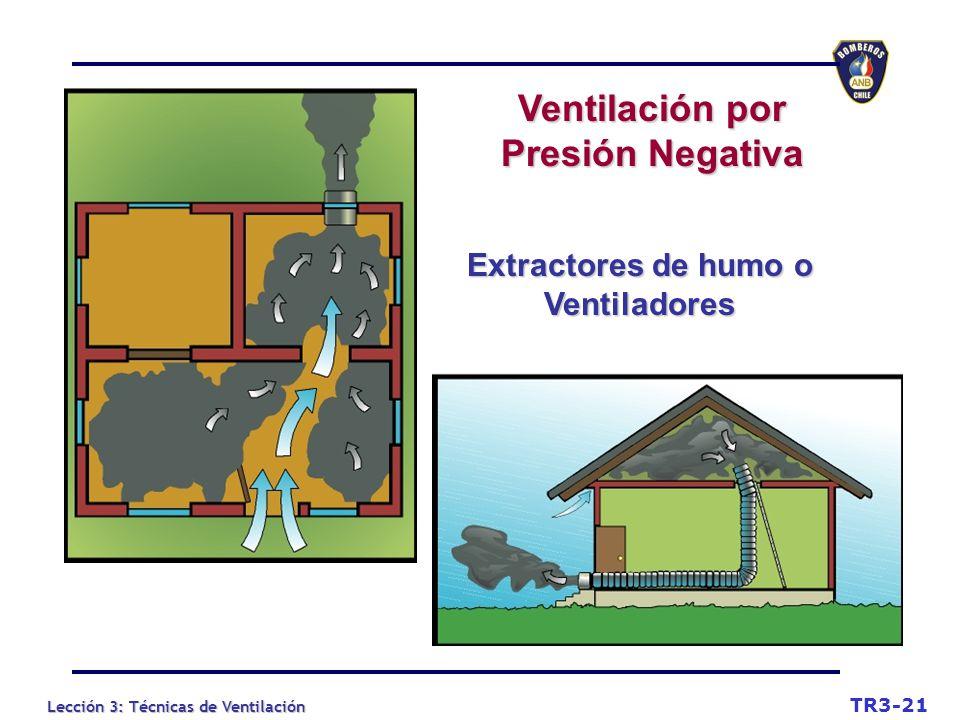 Lección 3: Técnicas de Ventilación TR3-21 Extractores de humo o Ventiladores Ventilación por Presión Negativa