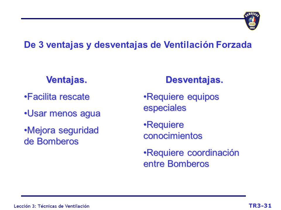 Lección 3: Técnicas de Ventilación De 3 ventajas y desventajas de Ventilación Forzada Ventajas.