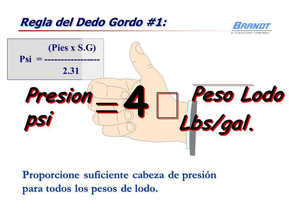 Presión de Fluido Para una Cabeza Constante 75 ' 32 8.33 75 ' 63 16.0 75 ' 39 10.0 75 ' 47 12.0 Efectos del peso de lodo en la presión a una cabeza de