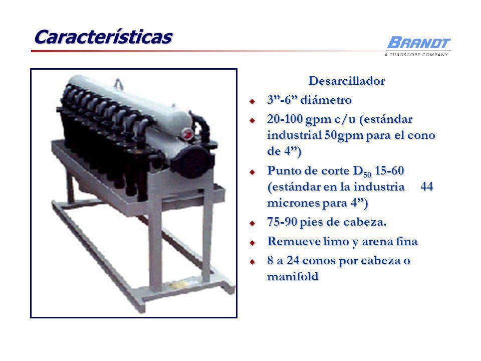 Características Desarenador 10-12 diámetro 10-12 diámetro 400-500 gpm c/u 400-500 gpm c/u Punto de corte D 50 40-60 micrones (remueve sólidos de tamañ