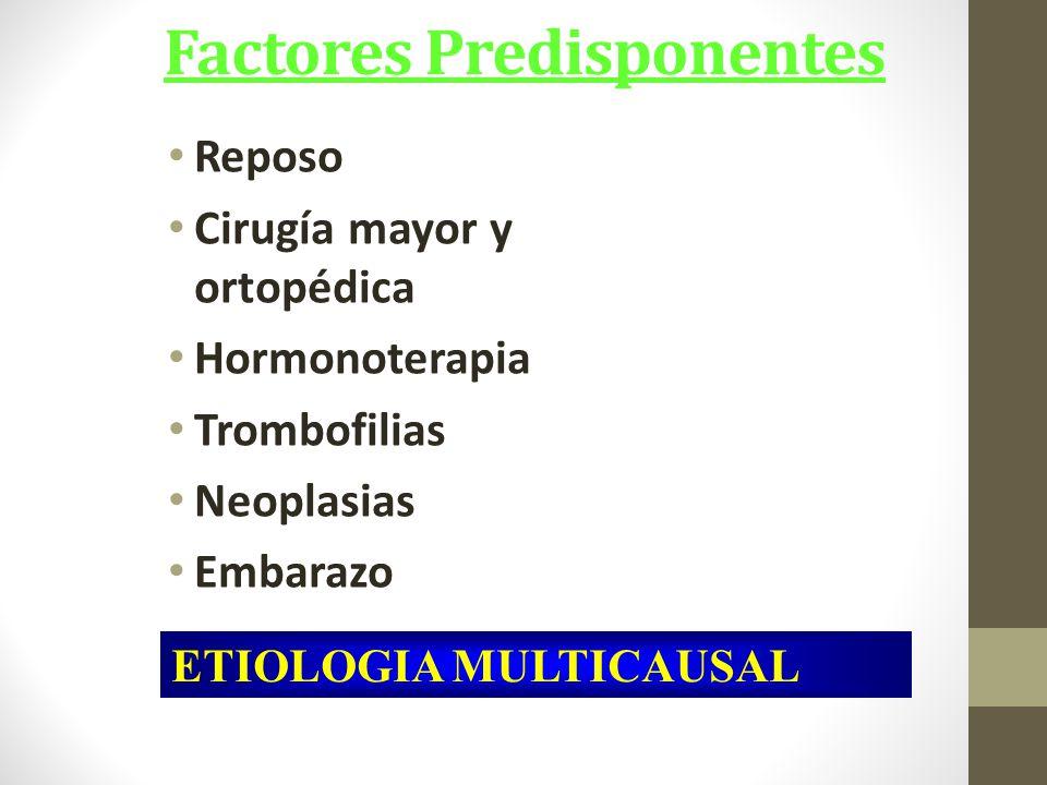 Factores Predisponentes Reposo Cirugía mayor y ortopédica Hormonoterapia Trombofilias Neoplasias Embarazo ETIOLOGIA MULTICAUSAL