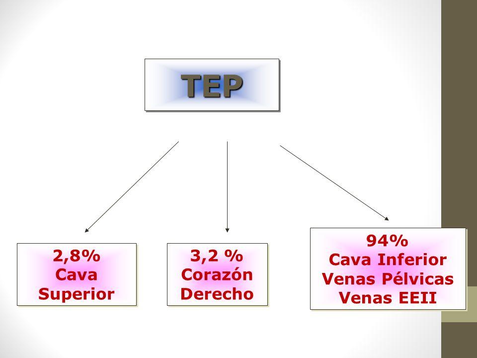 TEPTEP 2,8% Cava Superior 2,8% Cava Superior 3,2 % Corazón Derecho 3,2 % Corazón Derecho 94% Cava Inferior Venas Pélvicas Venas EEII 94% Cava Inferior Venas Pélvicas Venas EEII